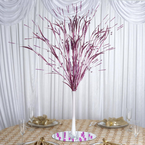 6 x Shiny Petal-Tipped, Beaded Glittering Long-stemmed Fern - Fushia