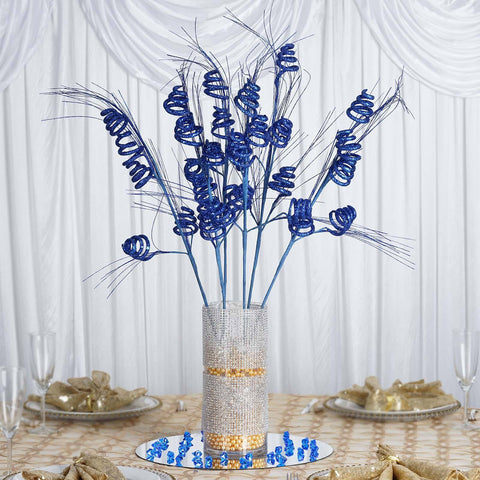 6 x Five Sparkling Swirls on Glittered Long-Stem - Navy