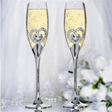 "10.5"" Tall Silver Sleek Double Heart Champagne Flute Glass Set"