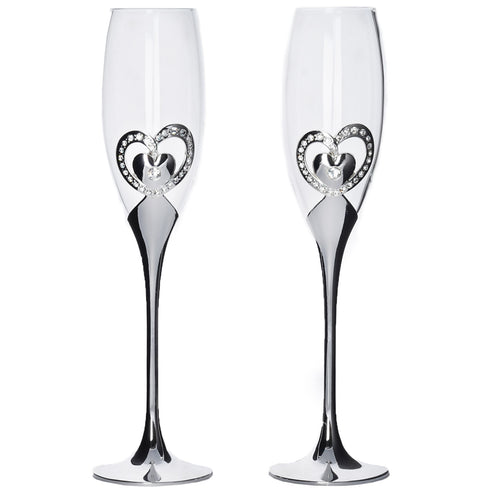 10 5 tall silver sleek double heart champagne flute glass set