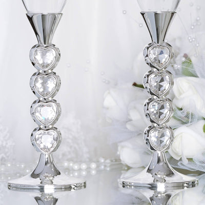 "10.5"" Tall Silver Crystal Heart Pendant Champagne Flute Glass Set"