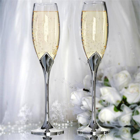 "Designer Wedding Party Rhinestone Embedded Flutes Glass - 10.5"" Tall (Set of 2)"