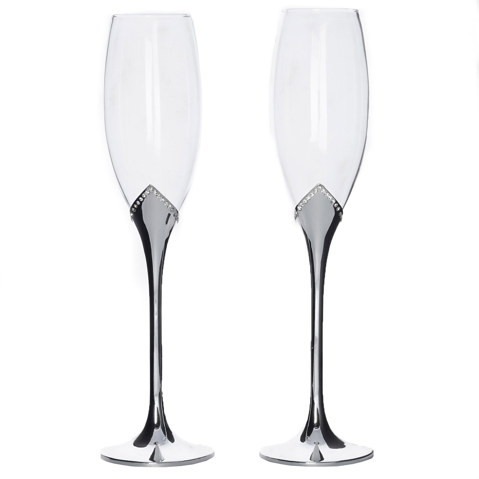 "10 5"" Tall Rhinestone Embedded Silver Sleek Champagne Flute Glass"