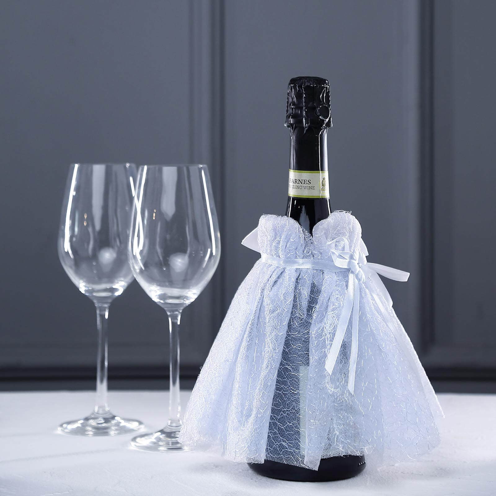 Clear Lillian Rose Cream Lace Wine Bottle Cover