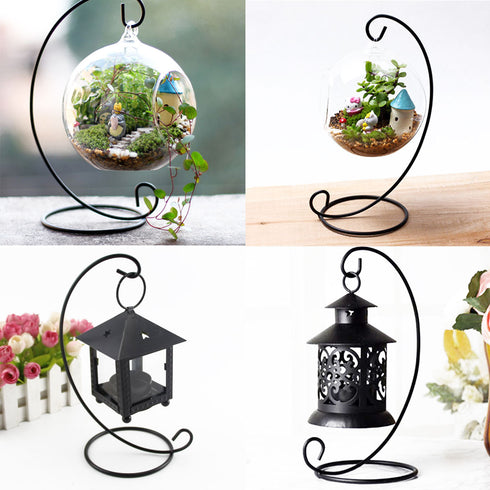 "10"" Tall Iron Air Plant Terrariums Tea Light Hanger"