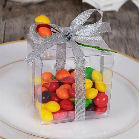 "25 PCS CLEAR Favor Boxes - 2"" x 2"""