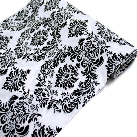 Regal Taffeta Velvet Upholstery Flocking Fabric Bolt - Black / White - 54 x 10Yards