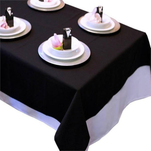 "Tuscany-Inspired *250gsm Tablecloth- 108"" Round Ivorya70"" Black Commercial Grade 250 GSM Polyester Square Tablecloth"