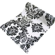 "Flocking Damask Fabric Bolt 12"" x 10Yards - Black / White"