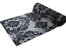 "Flocking Damask Fabric Bolt 12"" x 10Yards - Black / Silver"