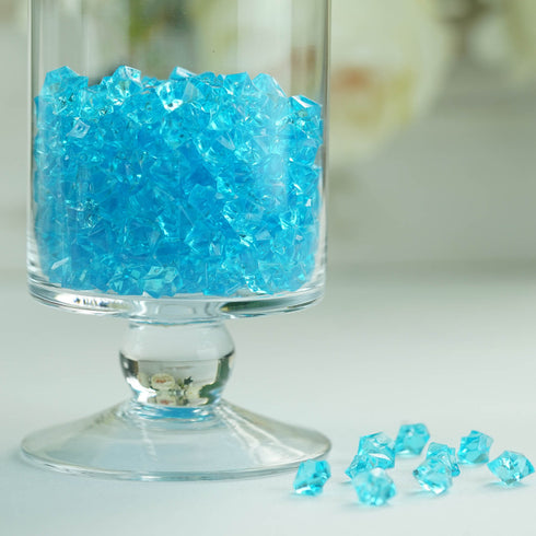 400 Pcs | Turquoise Mini Acrylic Crystals | Vase Filler Crystals | Table Scatters