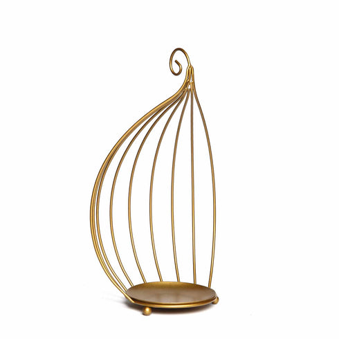 Hanging Wrought Iron Candle Holders For Centerpieces | Set of 3 | Metallic Gold | Bird Cage Candle Holder