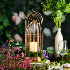 "17"" Gold Metal Cage Pillar Candle Holder Wedding Centerpiece"