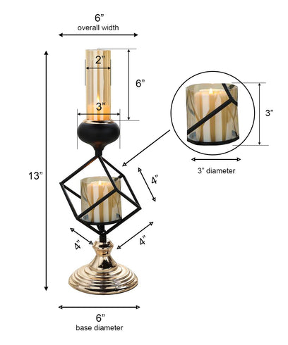 Geometric Candle Holders Wholesale with Amber Glass Votives | 13"
