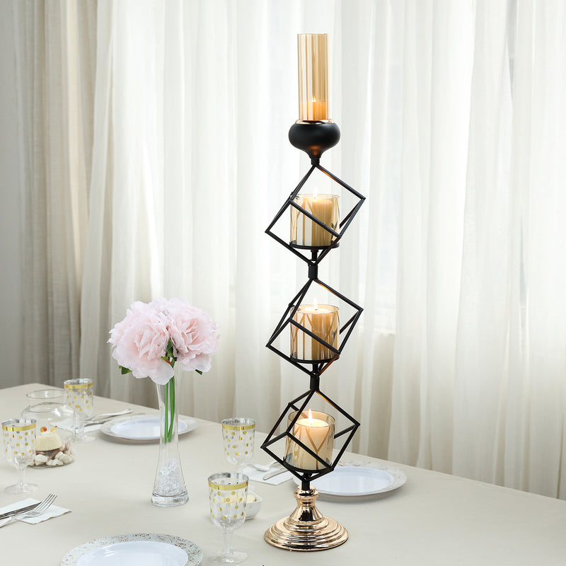 Geometric Candle Holders Wholesale with Amber Glass Votives | 28
