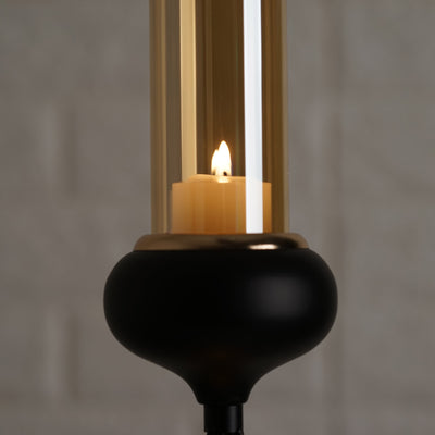 Metal Votive Candle Holder with Amber Glass Tube | 13"