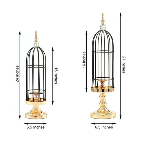Set of 2 | Gold/Black Metal Cage Votive Candle Holder Set With Crystal Baroque Top - 24"