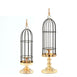 Set of 2 | Gold/Black Metal Cage Votive Candle Holder With Crystal Baroque Top - 24"