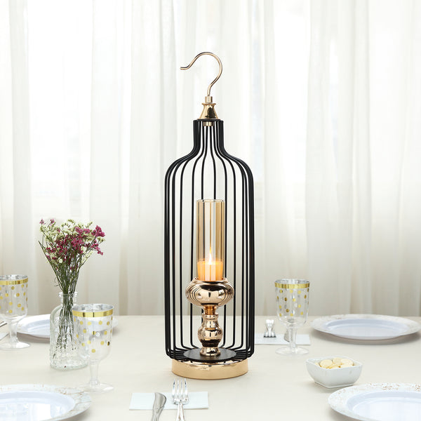 "21"" Tall Gold/Black Bird Cage Candle Holder with Glass Centerpiece"