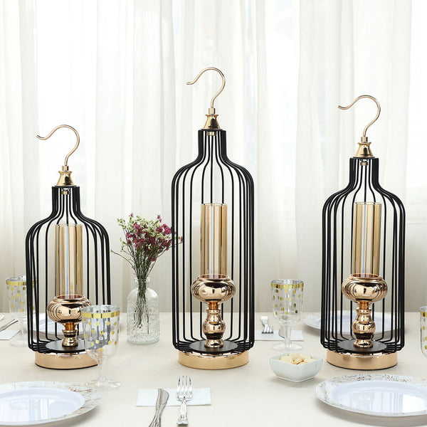 Set of 3 | Tall Gold/Black Bird Cage Candle Holder Set with Glass Centerpiece - 17"