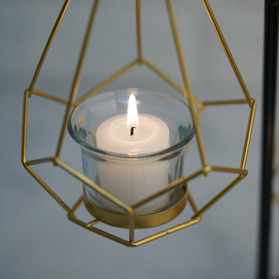 "Pack of 2 | 8"" Gold Hanging Geometric Tealight Candle Holders with 14"" Tall Black Iron Stand"