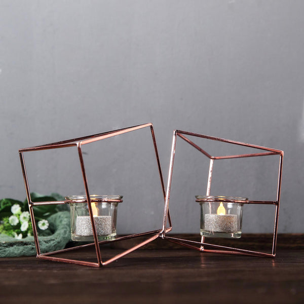 "9"" Rose Gold Geometric Candle Holder Set - Linked Metal Geometric Centerpieces with Votive Glass Holders"