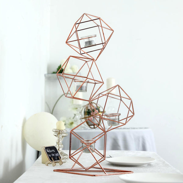 "25"" Rose Gold Geometric Candle Holder Set - Linked Metal Geometric Centerpieces with Votive Glass Holders"