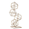 "25"" Gold Geometric Candle Holder Set - Linked Metal Geometric Centerpieces with Votive Glass Holders"