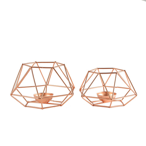 Set of 2 | Rose Gold Metal Hexagon Top Geometrical Tealight Candle Holders Flower Vase - 4"