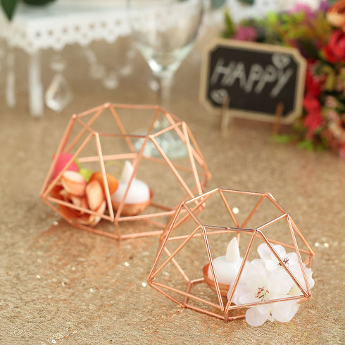 Rose Gold Tea Light Candle Holders, Hexagon Top Geometric Candle Holder Centerpiece