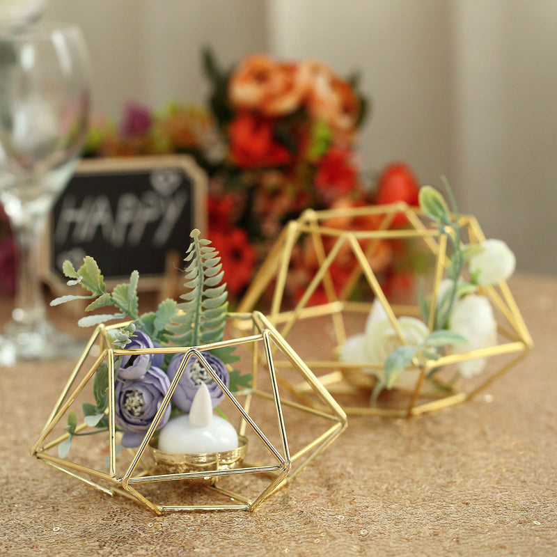 Set of 2 - Gold Tea Light Candle Holders, Hexagon Top Geometric Candle Holder Centerpiece - 4