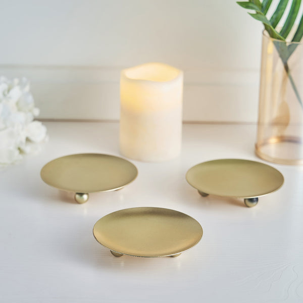 "3 Pack - 4"" Gold Metal Plate Candle Holders, Decorative Wax Pillar Candle Holder Centerpiece"