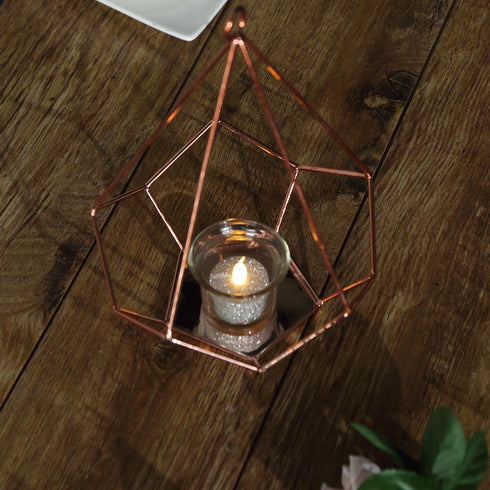 "2 Pack - 9"" Rose Gold Metal Pentagon Geometric Tealight Candle Holders - Geometric Flower Stand Centerpieces"
