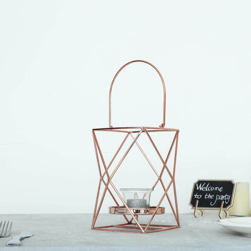 "12"" Rose Gold Metal Hanging Geometric Candle Holders - Geometric Flower Stand Centerpiece"