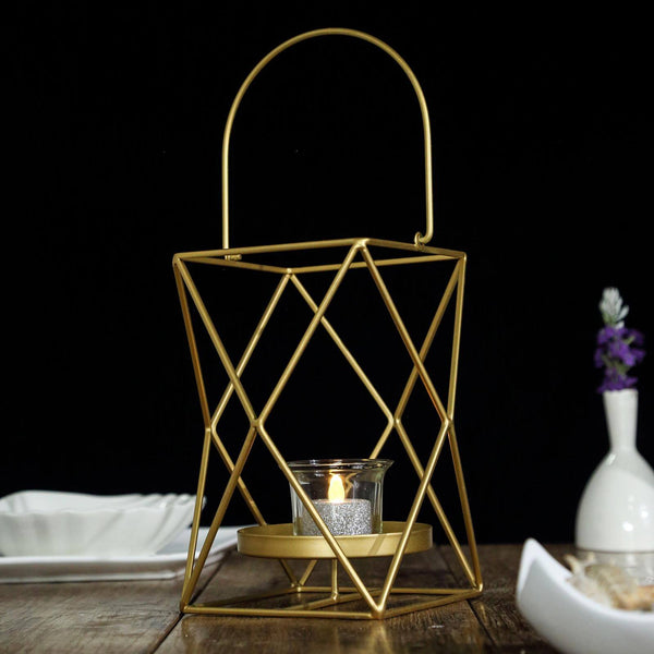 "12"" Gold Metal Hanging Geometric Candle Holders - Geometric Flower Stand Centerpiece"