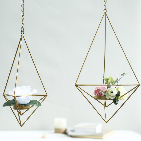 "Set of 2 - Gold Metal Geometric Floral Holders - Hanging Tealight Candle Holder - 12"", 15"""