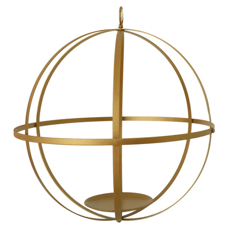 "18"" Gold Wrought Iron Folding Ball Floral Sphere - Geometric Hanging Vase Holder"