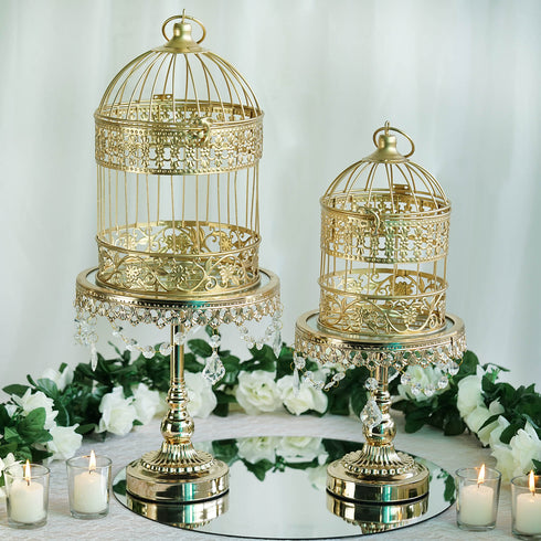 "2 Sets Metallic Gold Bird Cage Wedding Place Card Holder Centerpiece Decoration - 9"" & 13"""