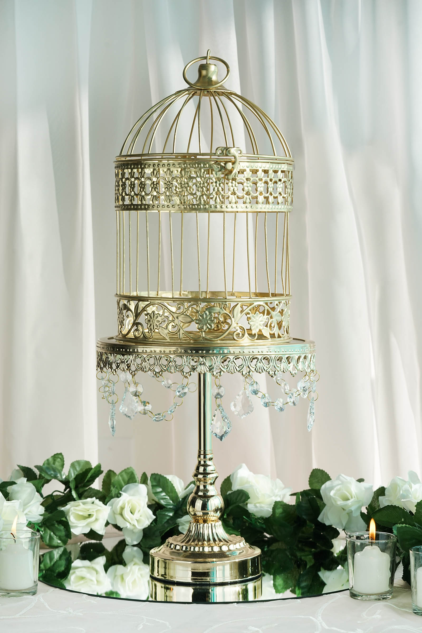 2 Sets Metallic Gold Bird Cage Wedding Place Card Holder Centerpiece ...