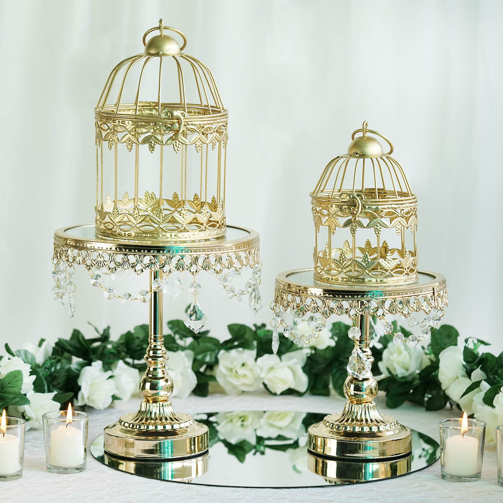 2 Pack Metallic Gold Bird Cage Wedding Card Holder Centerpiece - 7 ...
