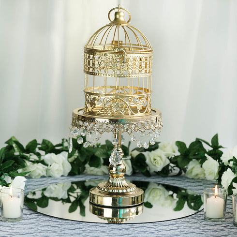 "2 Sets Of Metallic Gold Bird Cage Wedding Card Holder Centerpiece Decoration - 7"" & 9"""