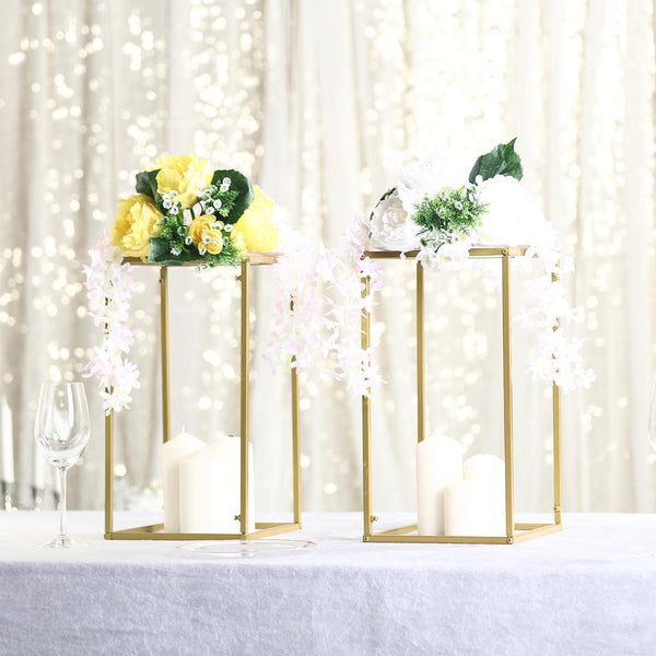 "2 Pack - 16"" Matte Gold Wedding Flower Stand - Metal Vase Column Stand - Geometric Centerpiece Vase"