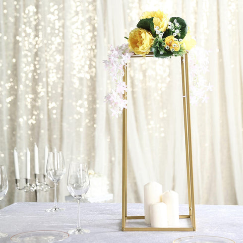 "2 Pack - 24"" Matte Gold Wedding Flower Stand - Metal Vase Column Stand - Geometric Centerpiece Vase"