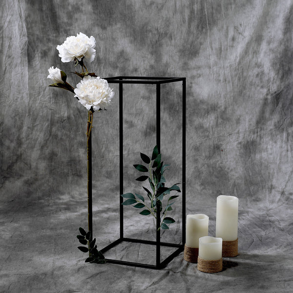 "2 Pack - 24"" Matte Black Wedding Flower Stand - Metal Vase Column Stand - Geometric Centerpiece Vase"
