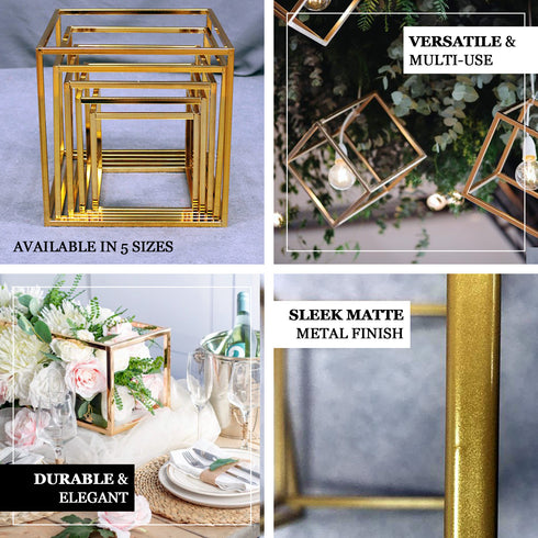 "2 Pack - 24"" Square Gold Metal Wedding Flower Stand, Geometric Centerpiece Vases"
