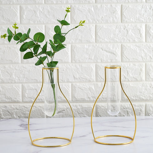 Set of 2 | 9 inch Milk Bottle Shaped Gold Metal Flower Stand with Clear Glass Test Tube Vase, Geometric Vase