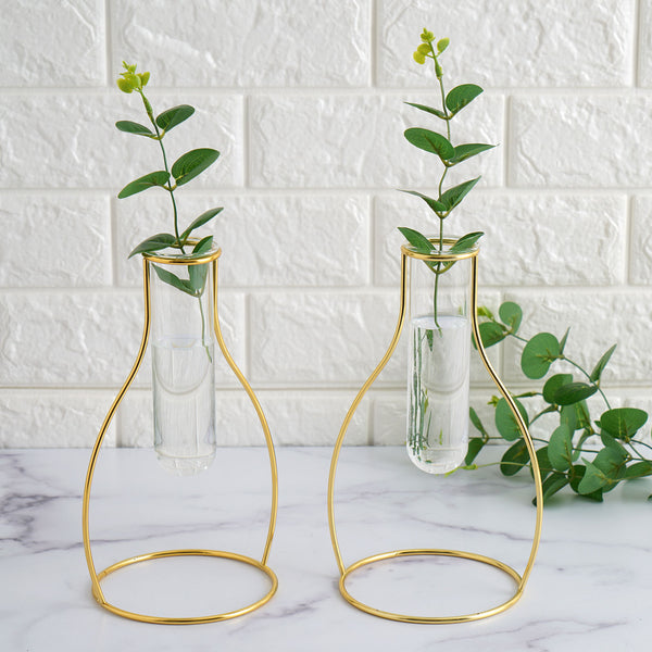 "Set of 2 | 9"" Milk Bottle Shaped Gold Metal Flower Stand with Clear Glass Test Tube Vase, Geometric Vase"