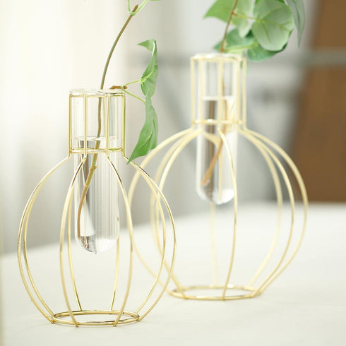 2 Pack | Geometric Metal Flower Vase Racks Holders | Round Flask Style | Free Glass Tubes Included
