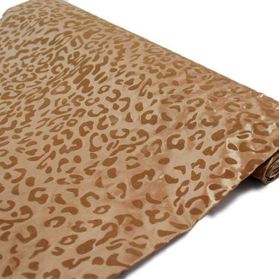 "Wholesale Taffeta Leopard Cheetah Animal Print Fabric Bolt By Yard For Wedding Theme Party Event Decoration - 54"" x 10Yards - Gold / Gold"