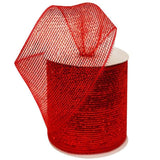"What a MESH! 4"" x 25yards Shiny Ribbons Red"